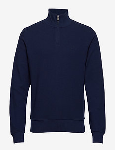 O1. HONEYCOMB HALF ZIP SWEAT - EVENING BLUE