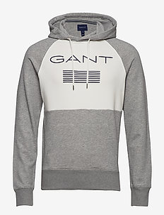 D1. GANT STRIPE SWEAT HOODIE - hoodies - grey melange