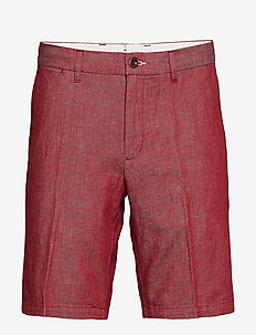 D1. THE CHAMBRAY SHORT - tailored shorts - mahogny red