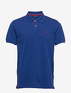 CONTRAST COLLAR PIQUE SS RUGGER - short-sleeved polos - crisp blue
