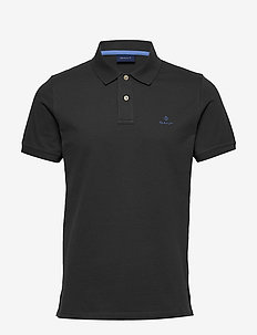 CONTRAST COLLAR PIQUE SS RUGGER - short-sleeved polos - dark graphite