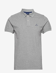 CONTRAST COLLAR PIQUE SS RUGGER - short-sleeved polos - grey melange