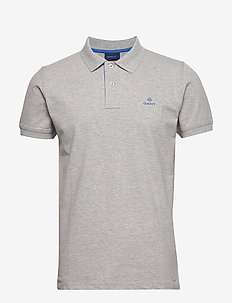 CONTRAST COLLAR PIQUE SS RUGGER - short-sleeved polos - light grey melange
