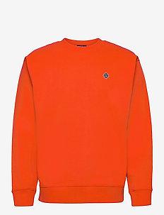 D1. GANT DIAMOND G C-NECK SWEAT - basic-sweatshirts - lava red