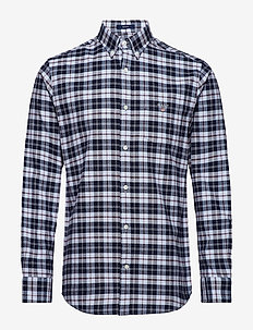 O1. BRUSHED OXFORD PLAID REG BD - HAMPTONS BLUE