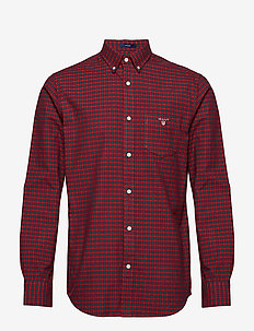 O1. BRUSHED OXFORD CHECK REG BD - MAHOGNY RED