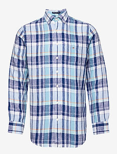 O2. LINEN MADRAS REG BD - checkered shirts - topaz blue