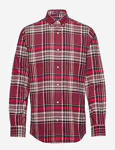 D2. BRUSHED OXFORD REG BD - checkered shirts - port red