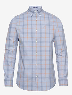 D1. HEATHER OXFORD  PLAID REG BD - checkered shirts - atlantic blue