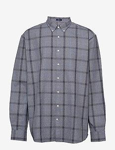 D1. HEATHER OXFORD  PLAID REG BD - checkered shirts - marine