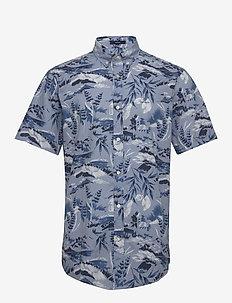 D2. RIVIERA VIEW PRINT REG BD SS - short-sleeved shirts - hamptons blue
