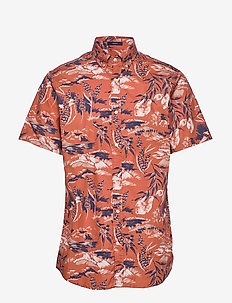D2. RIVIERA VIEW PRINT REG BD SS - short-sleeved shirts - redwood
