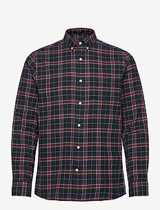 D2. FLANNEL CHECK REG BD - casual shirts - mahogny red