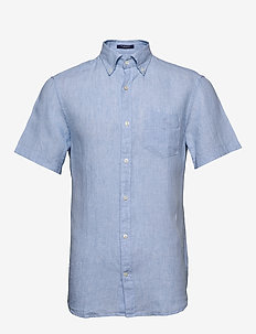 THE LINEN SHIRT REG SS  BD - chemises basiques - capri blue