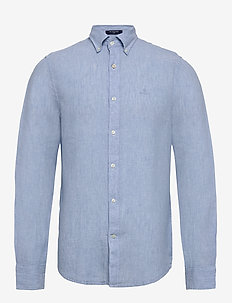 SLIM LINEN SHIRT BD - basic shirts - capri blue