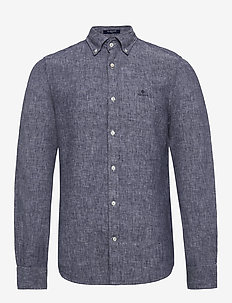 SLIM LINEN SHIRT BD - basic shirts - persian blue