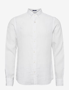 SLIM LINEN SHIRT BD - basic shirts - white