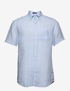 THE LINEN STRIPE REG SS BD - linen shirts - capri blue