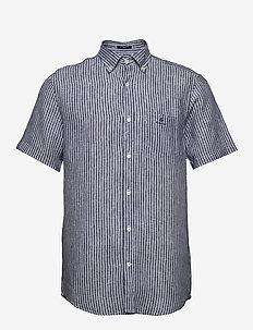 THE LINEN STRIPE REG SS BD - chemises de lin - persian blue