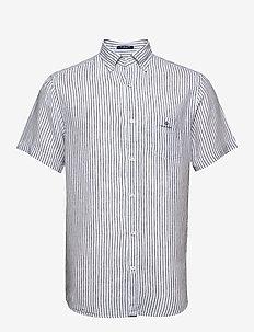 THE LINEN STRIPE REG SS BD - linen shirts - white