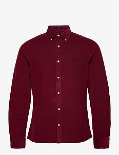 D2. CORDUROY SLIM BD - casual shirts - port red