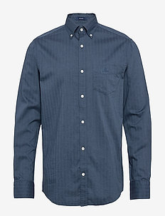 D1. HERRINGBONE SOLID REG BD - casual shirts - atlantic blue