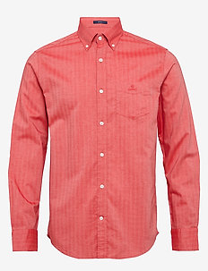 D1. HERRINGBONE SOLID REG BD - casual shirts - bright red