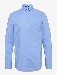 D1. HERRINGBONE SOLID REG BD - casual shirts - pacific blue