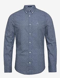 D1. MICRO FLORAL PRINT SLIM BD - casual overhemden - vintage blue