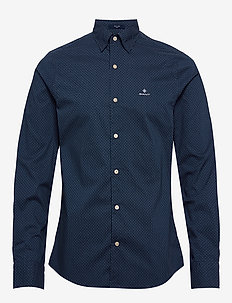 D1. TP BC MICRO PRINT SLIM HBD - basic shirts - persian blue