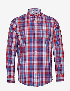 D1. WINDBLOWN OXFORD CHECK REG BD - oxford shirts - fiery red