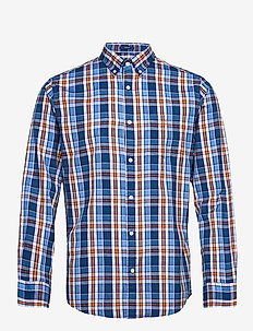 D1. WINDBLOWN OXFORD CHECK REG BD - chemises oxford - pacific blue