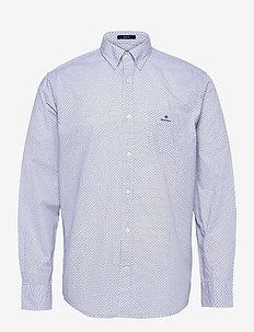 D1. MICRO DOT WEAVE PRINT REG BD - business shirts - white