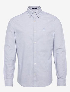 D1. OXFORD MICRO CHECK SLIM BD - checkered shirts - pacific blue