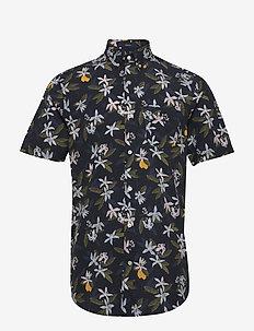 D2.LEMON FLOWER PRINT REG BD SS - short-sleeved shirts - insignia blue