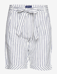 O2. STRIPED LINEN SHORTS - paper bag shorts - eggshell