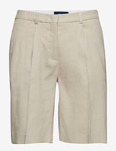 O2. STRETCH LINEN PLEATED SHORTS - PUTTY