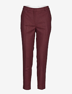 D1. WASHABLE STR WOOL TAPERED PANT - MAHOGNY RED
