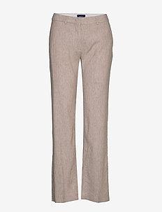 D2. STRETCH LINEN SLIM SLOUCH PANT - rette bukser - dark khaki