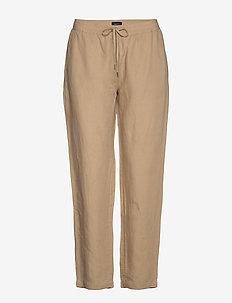 D2. SUMMER LINEN PULL-ON PANT - rette bukser - dark khaki