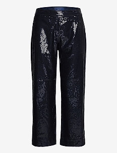 D2. CROPPED SEQUIN PANT - casual byxor - evening blue