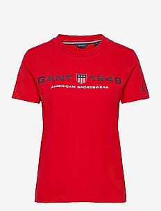 D2.GANT RETRO SHIELD SS T-SHIRT - t-shirts - bright red