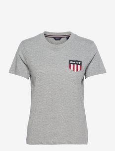 D1. GANT RETRO SHIELD SS T-SHIRT - t-shirts - grey melange