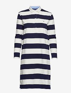 O1. STRIPED HEAVY RUGGER DRESS - EVENING BLUE
