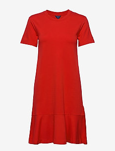 D1. FLOUNCE DETAIL JERSEY DRESS - BRIGHT RED