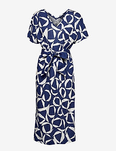 D1. CRESENT BLOOM JERSEY DRESS - robes midi - crisp blue