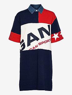 D2. GANT RETRO SHIELD RUGGER DRESS - t-shirt-kleider - classic blue