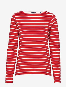 BRETON STRIPE BOATNECK JUMPER - BLOOD ORANGE