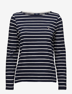 BRETON STRIPE BOATNECK JUMPER - EVENING BLUE