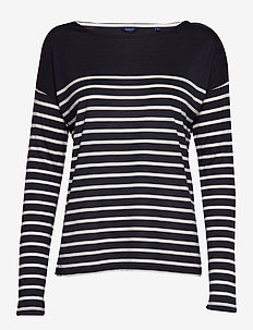 O1. LIGHT WEIGHT STRIPED TOP - EVENING BLUE
